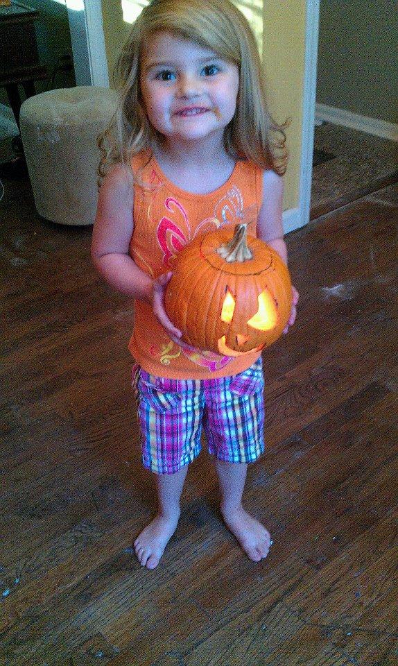 Skyler's first jack-o-lantern